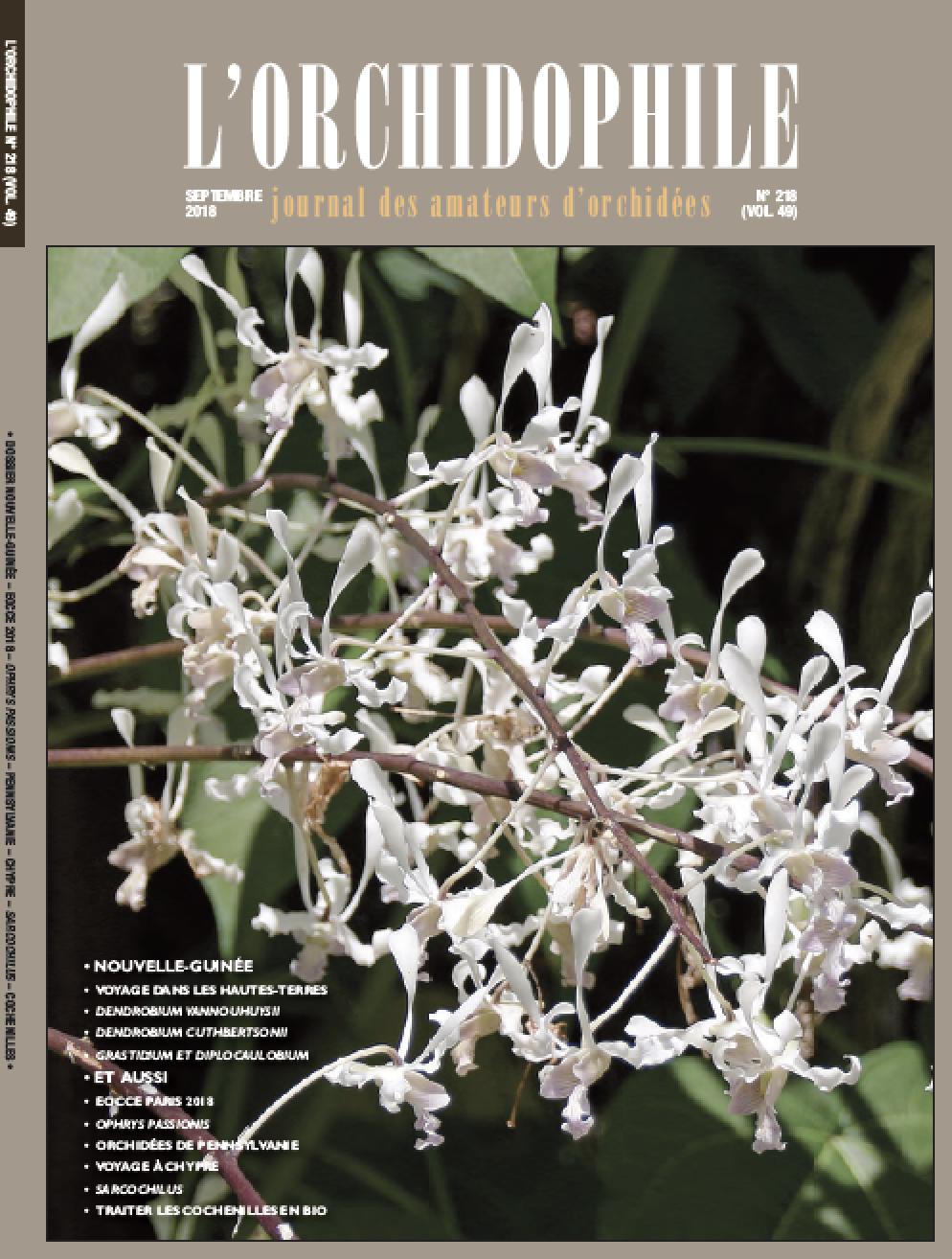 L'Orchidophile, le magazine par et pour les passionnés d'orchidées. Numéro de septembre 2018.