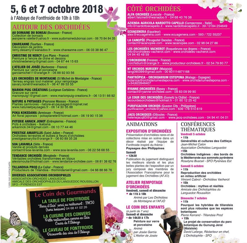 Programme exposition Orchidées Fontfroide 2018 - Liste des exposants