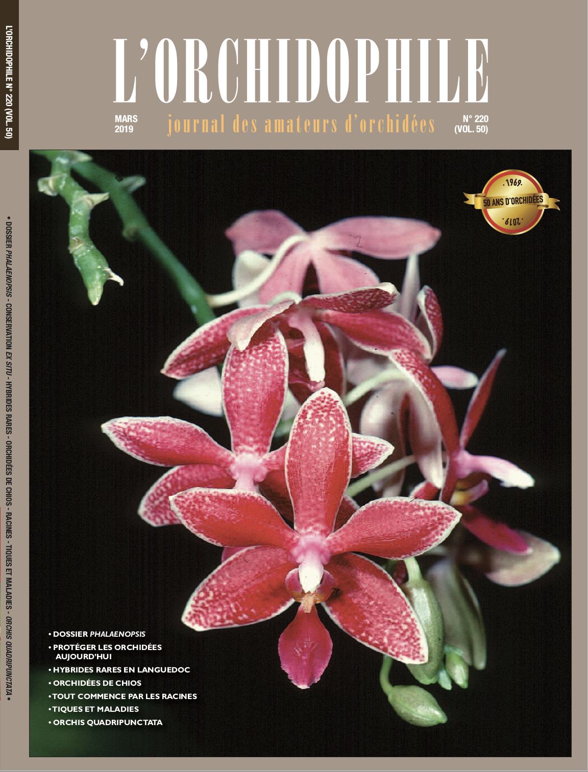 Couverture L'Orchidophile n°220, magazine des amateurs d'orchidées